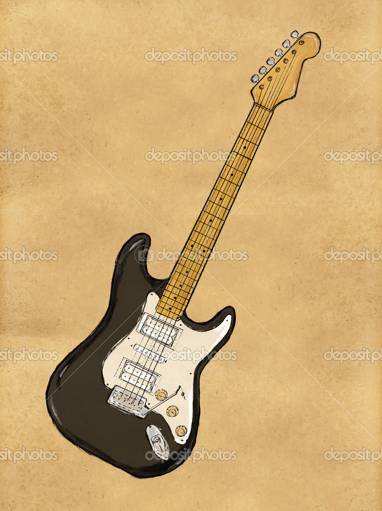 Hanging Guitars On Wall Ideas Electric Guitar Painting On Paper