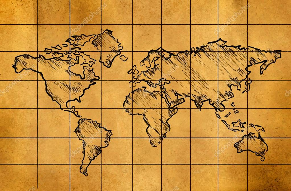 World map sketch on old paper stock photo natanaelginting 45014863 world map sketch on old paper stock photo gumiabroncs Image collections