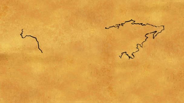 Régi papír tekercset animáció megjelenítése vázlat akvarell, világ