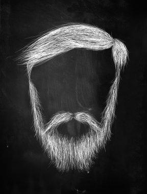 Hair, mustache, Heavy Beard on blackboard