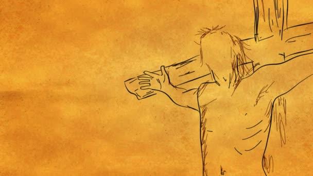 Jézus a kereszt hurok élénkség-val a alfa-Matt vázlat