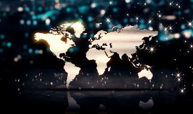 World Map Silver City Light