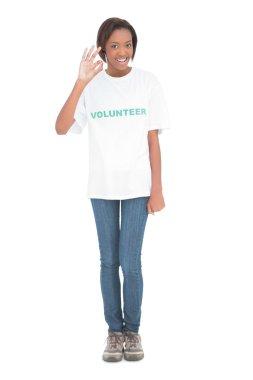 Smiling beautiful model wearing volunteer tshirt