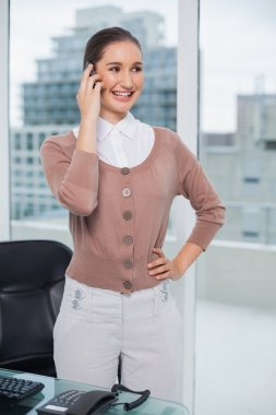 Cheerful classy businesswoman on the phone
