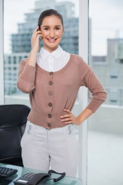 Smiling classy businesswoman on the phone