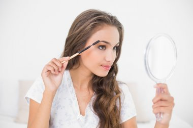 Brunette using an eyebrow brush and mirror
