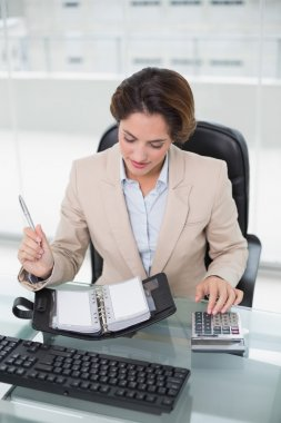 Businesswoman using calculator and looking at diary