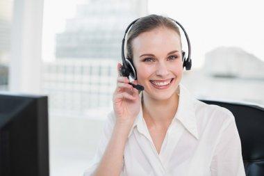 Happy call centre agent