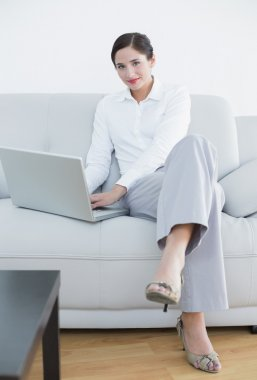 Portrait of a well dressed young woman using laptop on sofa at home stock vector