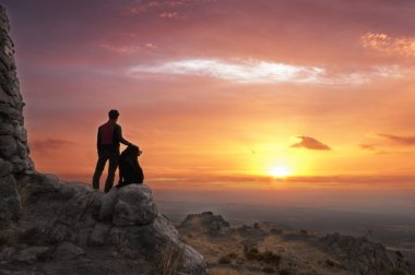 Man and dog at dawn - 2