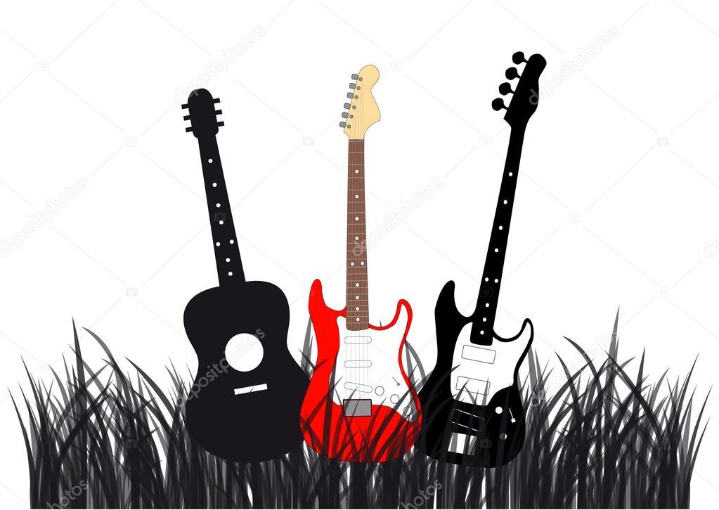 Guitars in grass