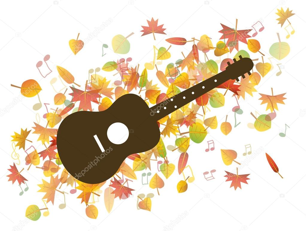 Guitar and Autumn leaves illustration
