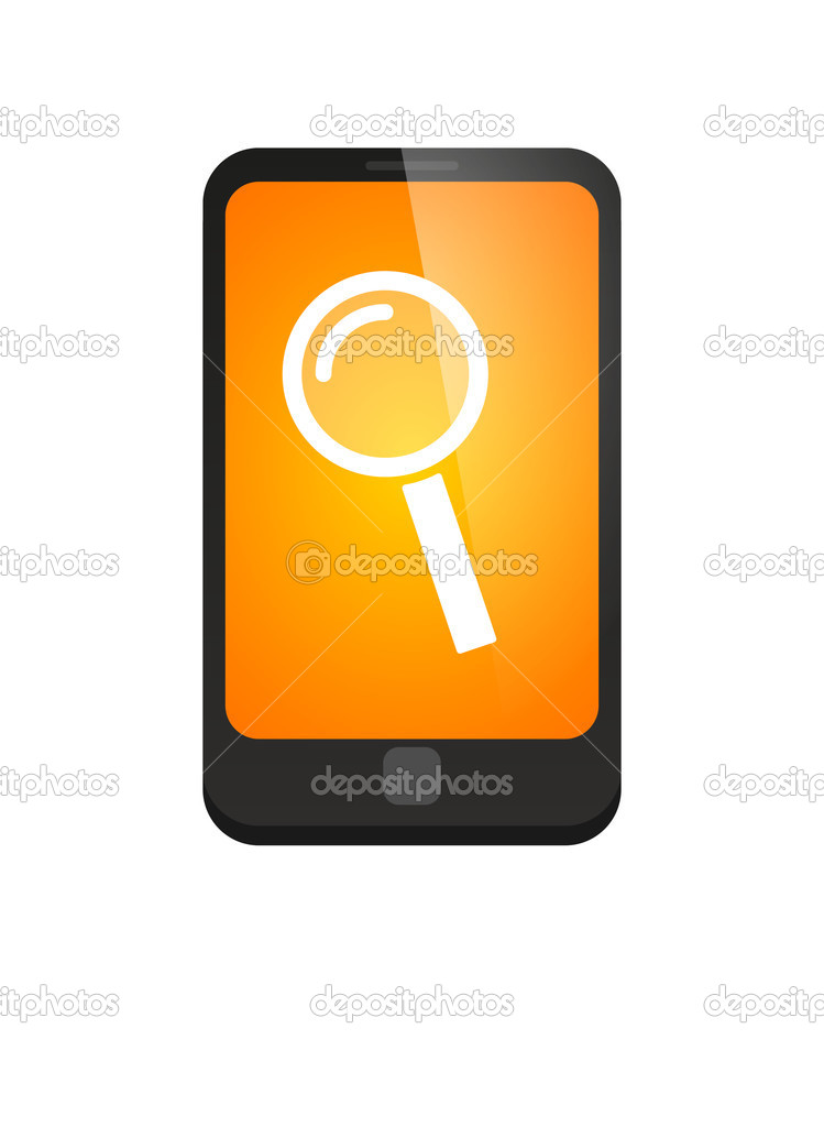 Phone icon with a magnifier