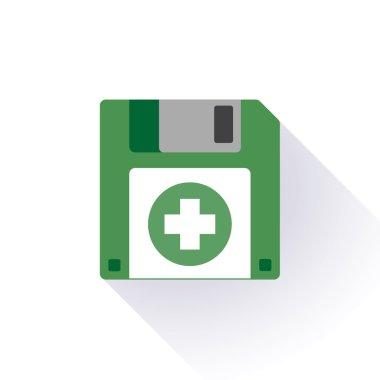 Floppy disc icon with a pharmacy icon