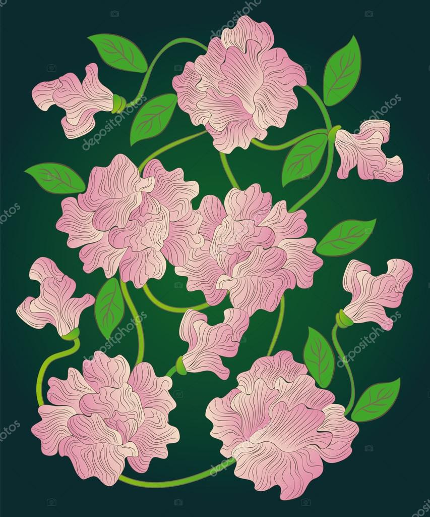 Many Pink Striped Flowers Are Connected By A Vine Stock Vector