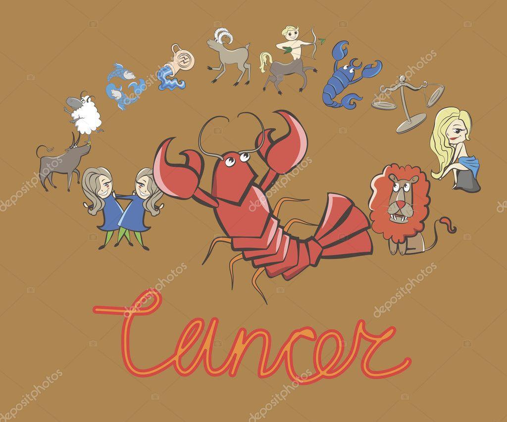 Insieme di segni zodiacali dei cartoni animati guidati da cancro