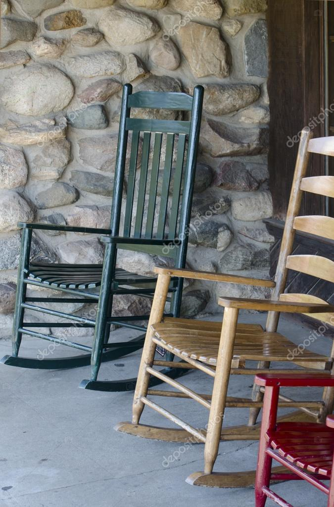 Rocking Chairs In Different Colors On A Porch U2014 Stock Photo