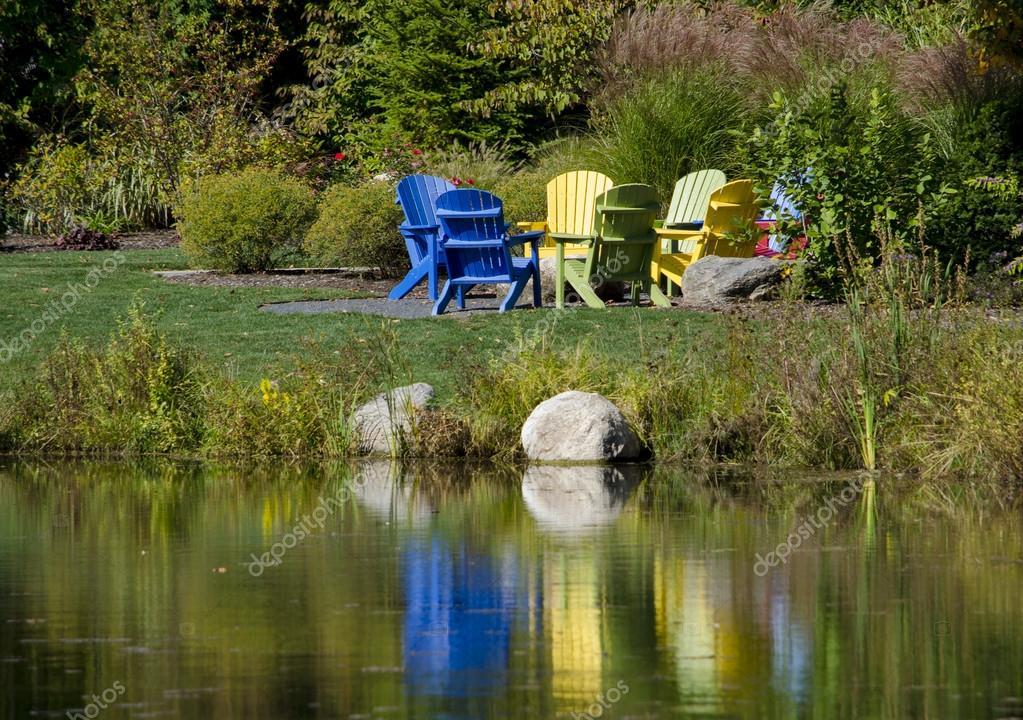 Adirondack Chairs Around Fire Pit U2014 Stock Photo #38235173