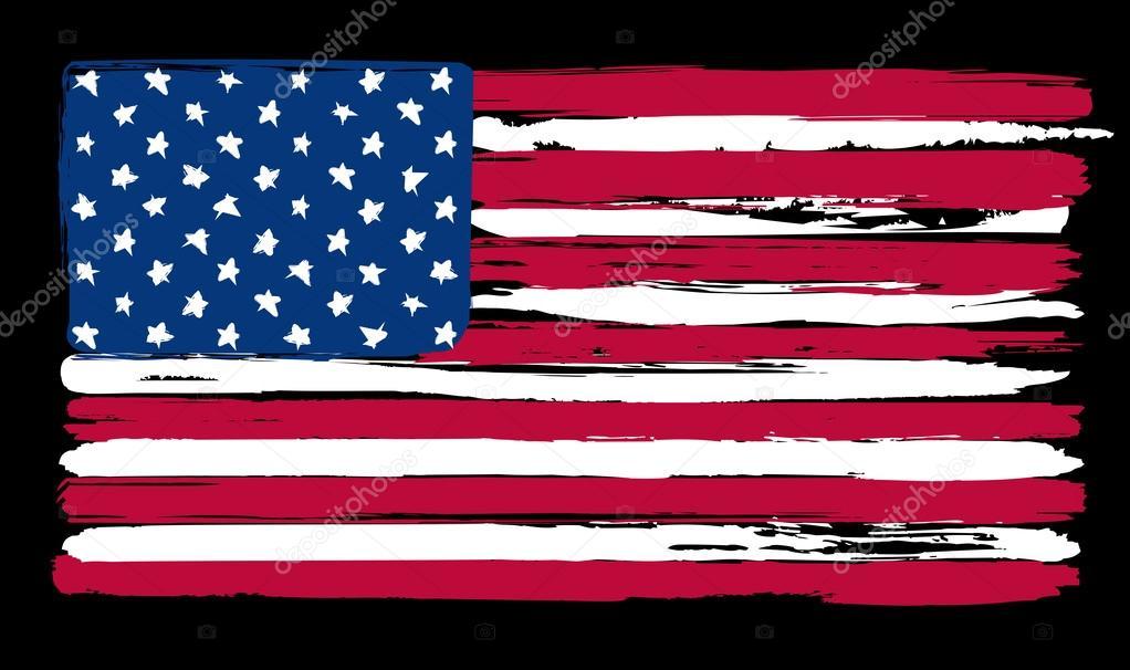 Amerikan Bayrağı Boyama Fırça Tarzı Içinde Stok Vektör Kastanka