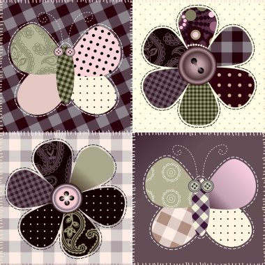 patchwork with flowers and butterfy