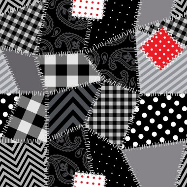 Black-white Patchwork with red patch