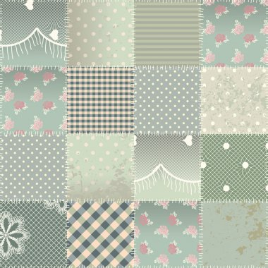 The  patchwork quilt in shabby chic style with grunge elements.