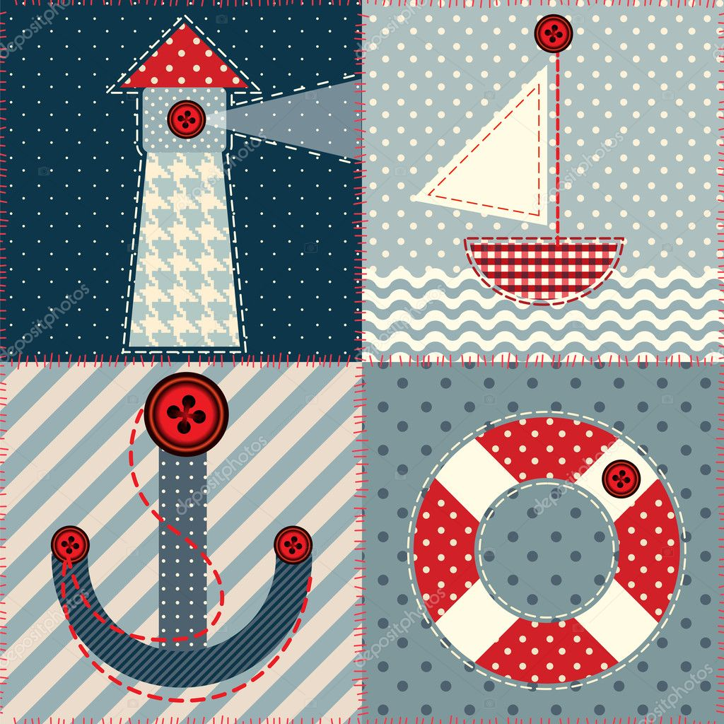 Plazas patchwork en estilo marinero vector de stock - Estilo patchwork ...