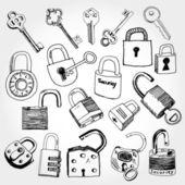 různé zámky a klíče