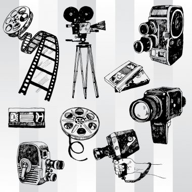 Hand Drawn Retro Cinema Set stock vector