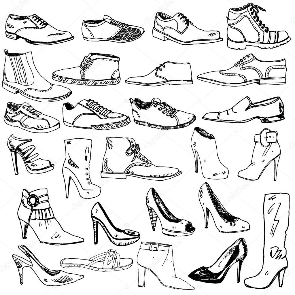 Verschiedene Schuhe Hand Gezeichnet Stockvektor C Tsaplia 50475605