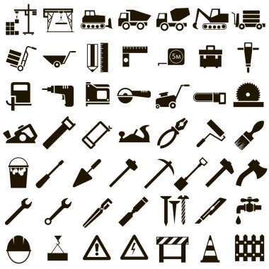 Vector icons of building tools and building