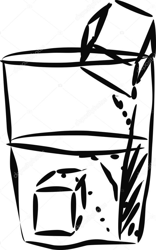 Vaso De Agua Con Cubos De Hielo Archivo Imágenes Vectoriales