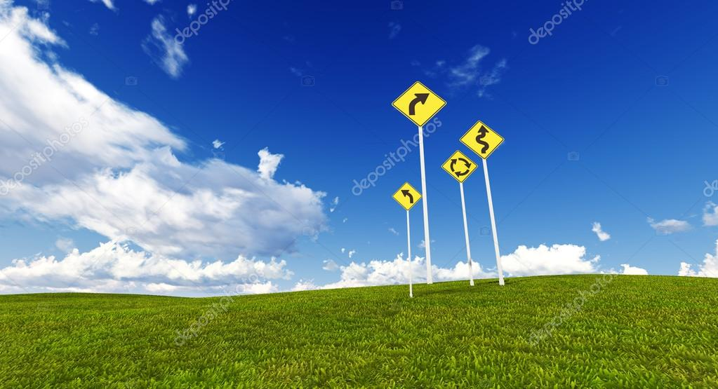 Signs in a meadow