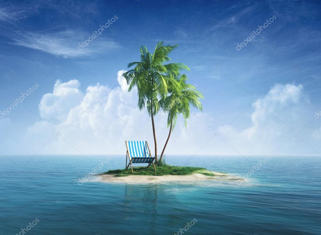 Desert tropical island with palm tree, chaise lounge.