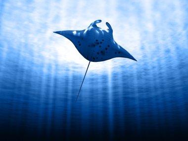 Manta ray with sun
