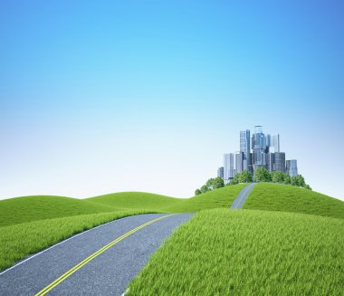 Background landscape - green hills with tree and cityscape