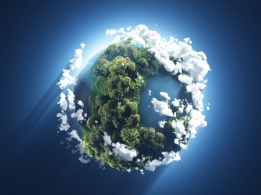 Small planet with oceans, trees and clouds