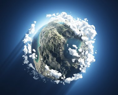 Small planet with oceans, mountains and clouds