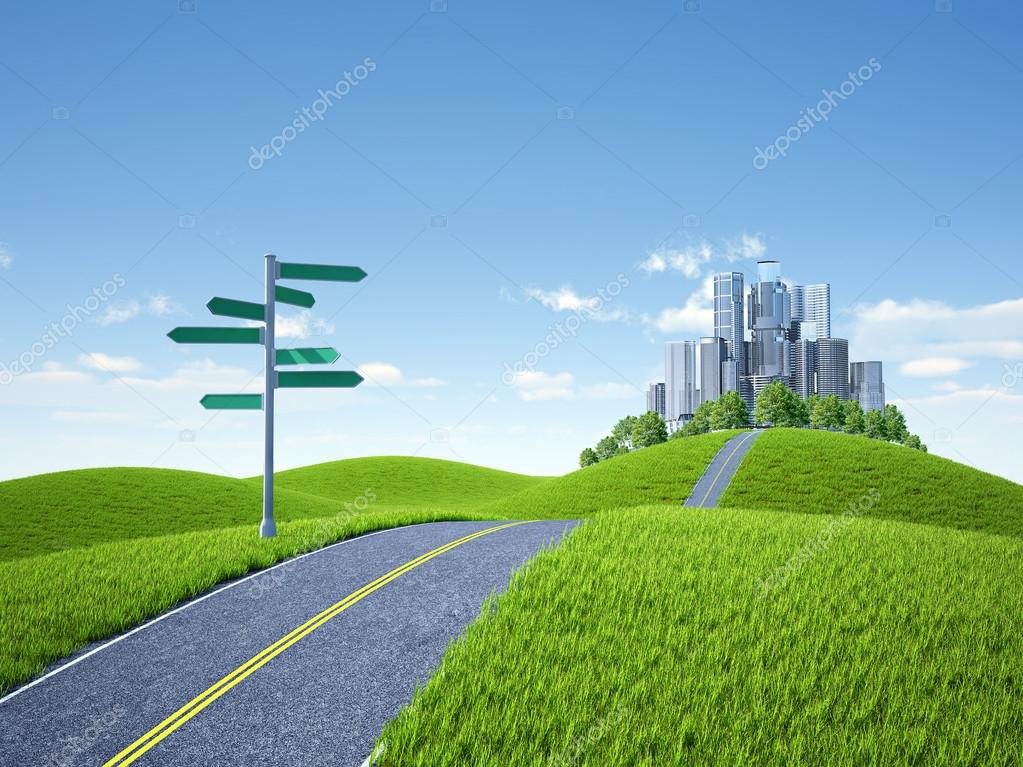 Sign arrow and road in city