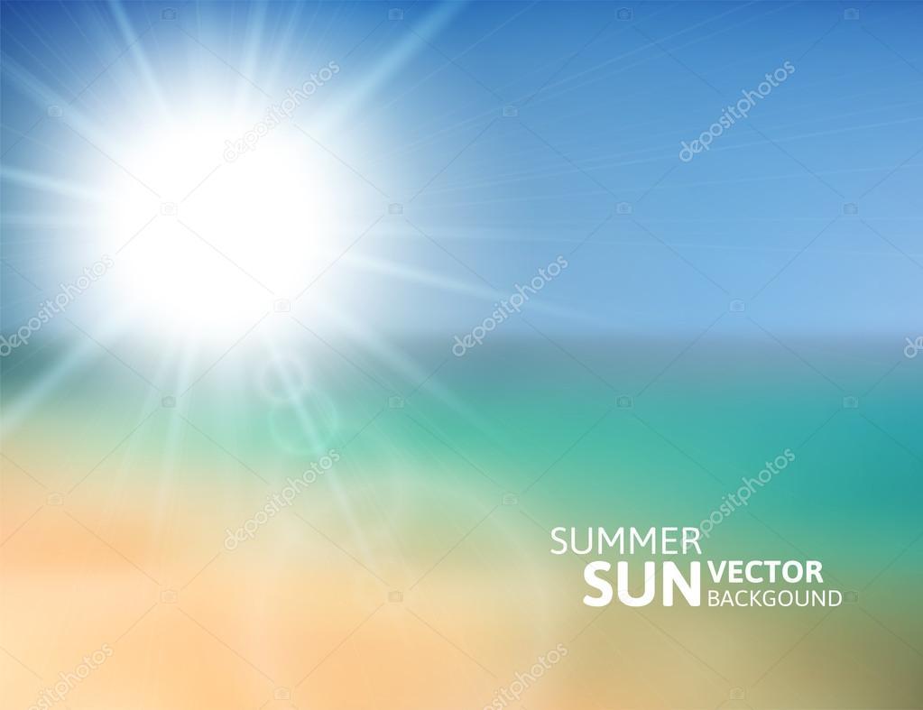 Blurry beach and blue sky with summer sun