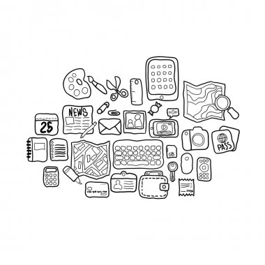 Black and white doodle sketch icons set personal items,  illustration stock vector