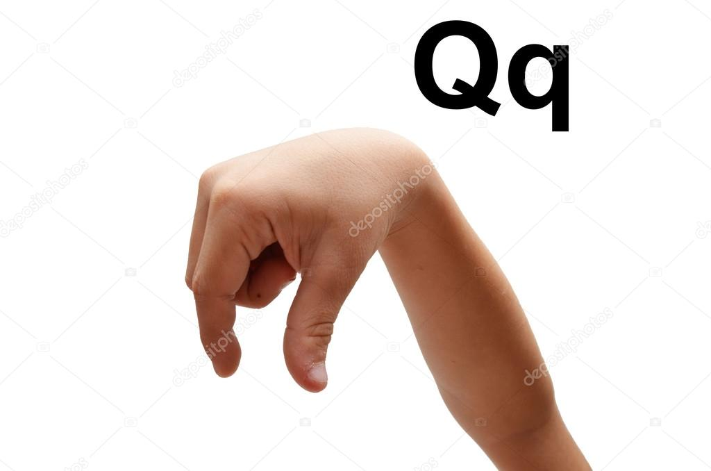 q kid hand spelling american sign language asl stock photo 38828075