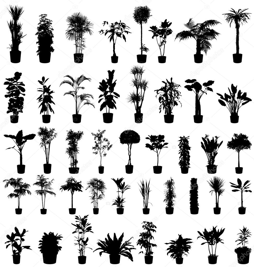 Plants silhouettes set