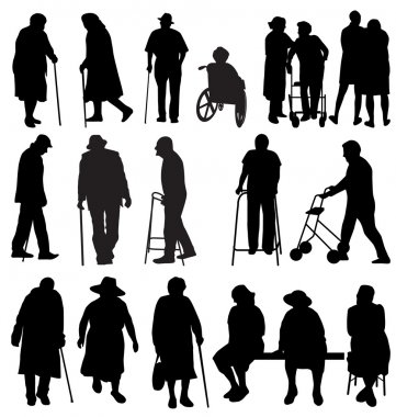 Eldely people silhouettes set stock vector