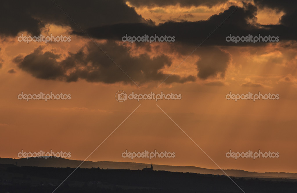 A Picture Of Small Church Silhouette Backgrounded Against Spectacular Orange Sunset Sky Photo By Susanoo