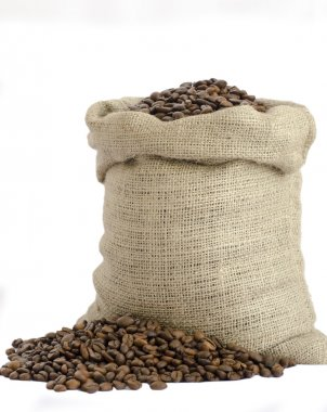 Wool bag full with coffee beans