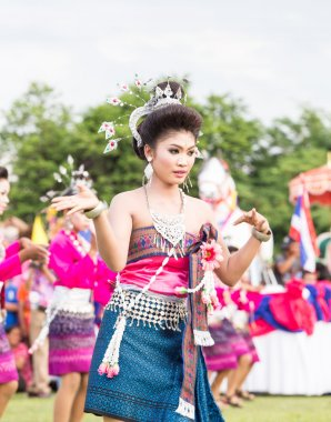 Thai ladies performing Thai dancing in Rocket festival