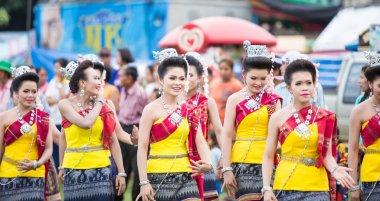 Thai ladies performing Thai dancing in Rocket festival