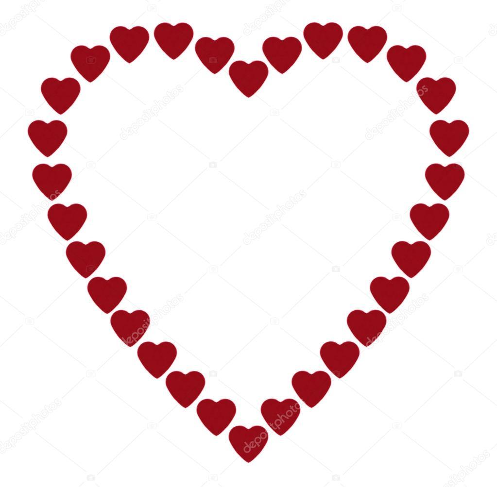 marco en forma de corazón, compuesto de muchos corazones — Fotos de ...