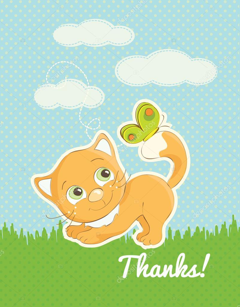 かわいい子猫のイラストありがとうカード ストックベクター